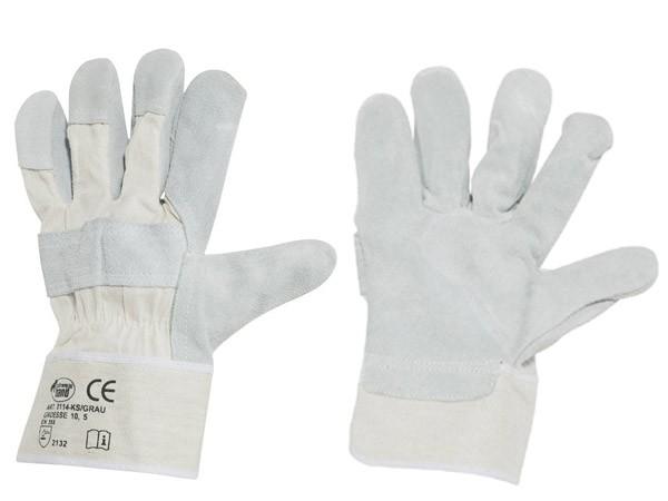 Rindspaltleder Handschuhe KS grau 12er Pack